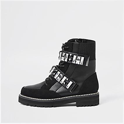 Black embellished hiker boots