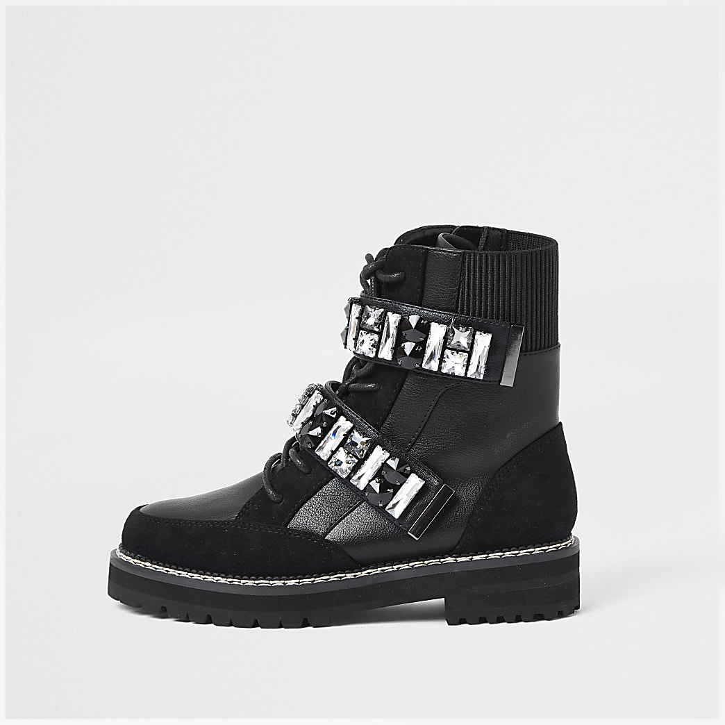 Black embellished hiker boots