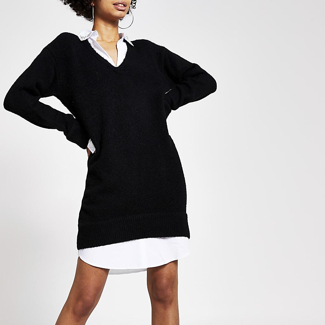 Black embellished jumper shirt dress