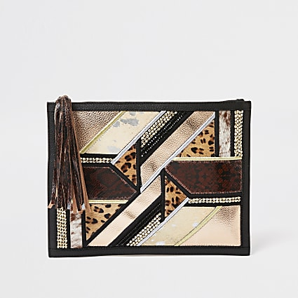 Black embellished leather clutch handbag
