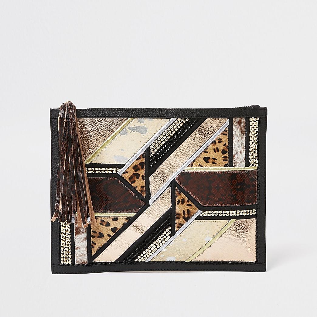 Black embellished leather clutch handbag