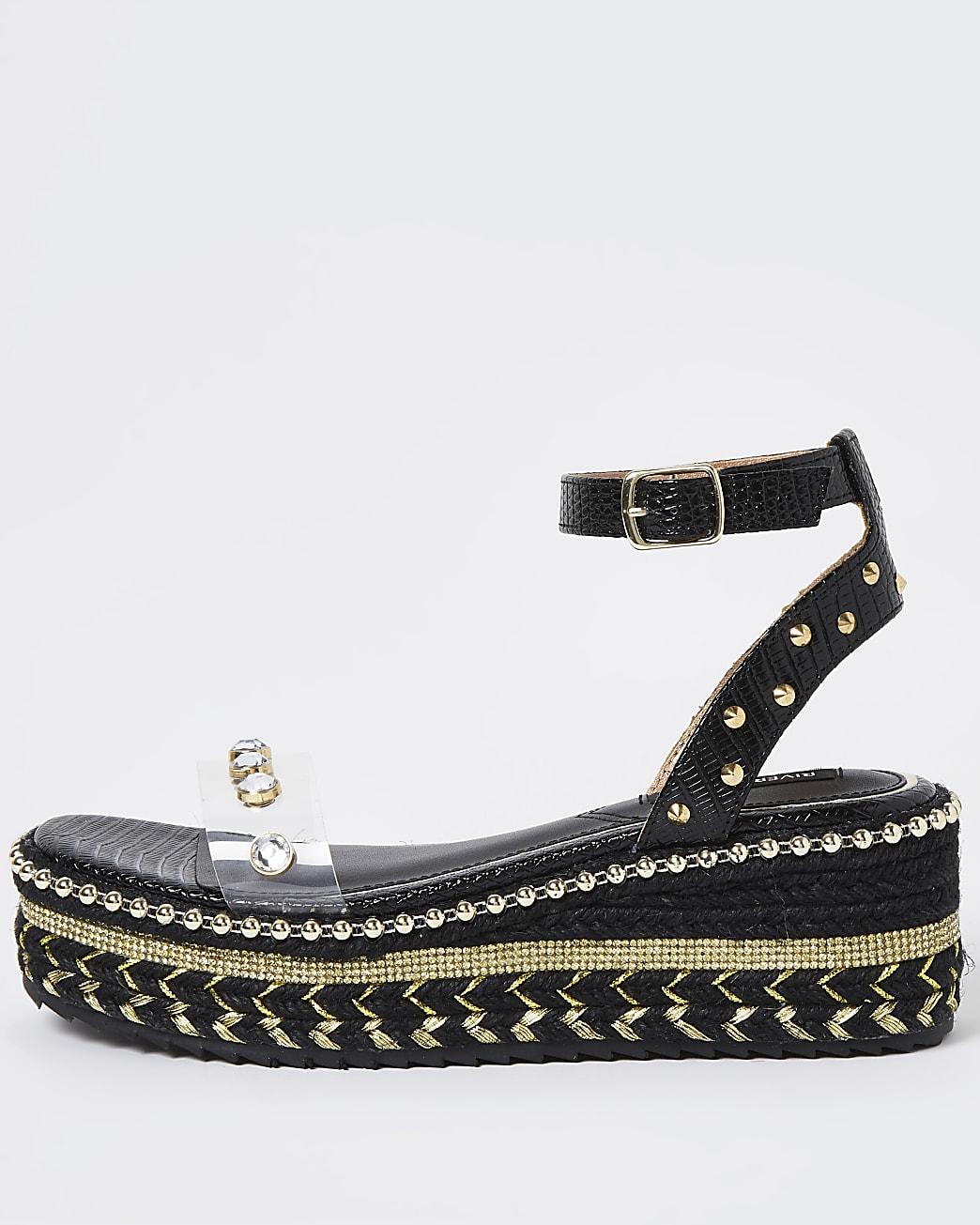Black embellished platform sandals