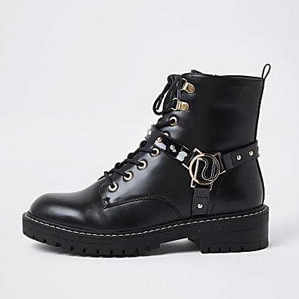 Black embellished RI chunky lace up boots