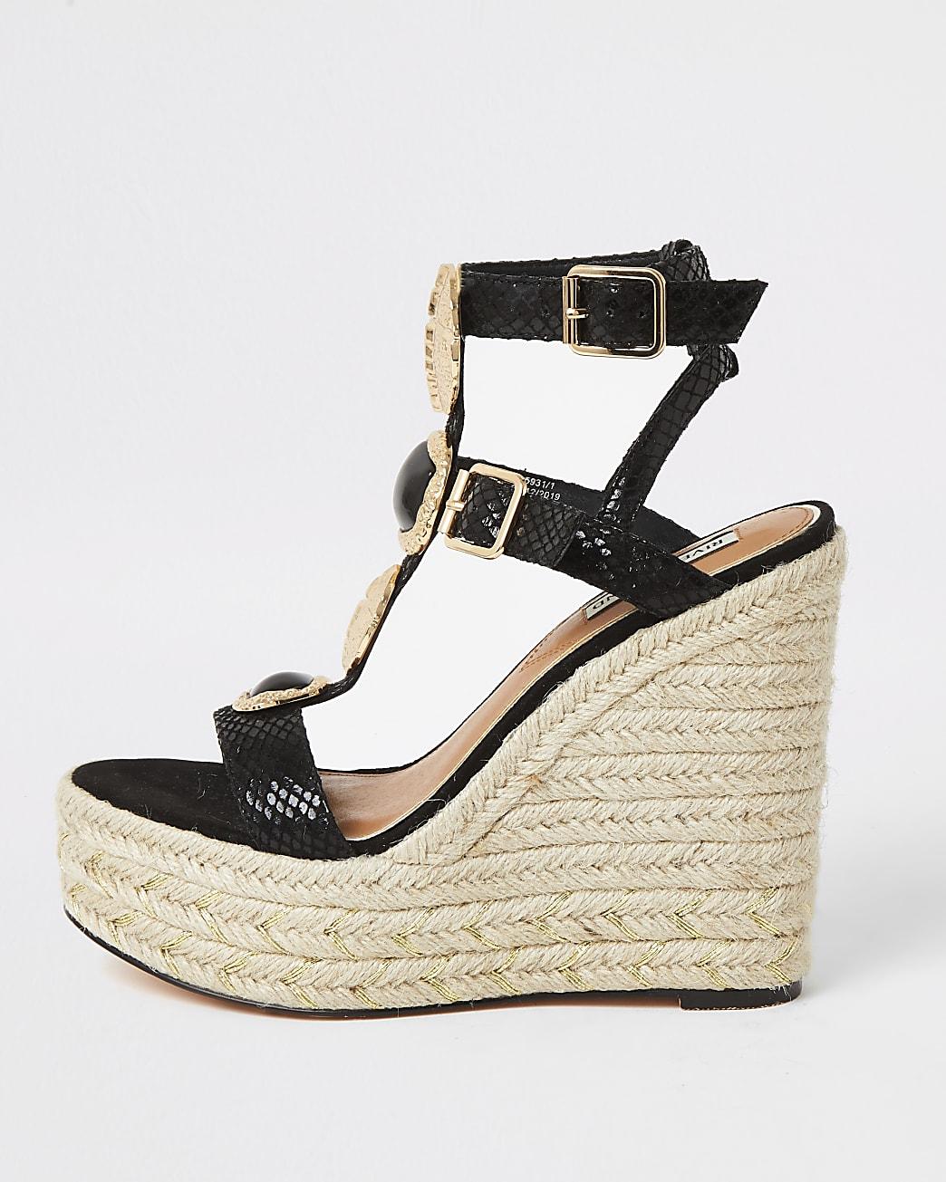 Black embellished strap wedge sandals