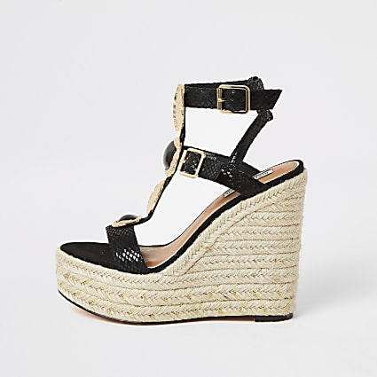Black embellished strap wedge sandals