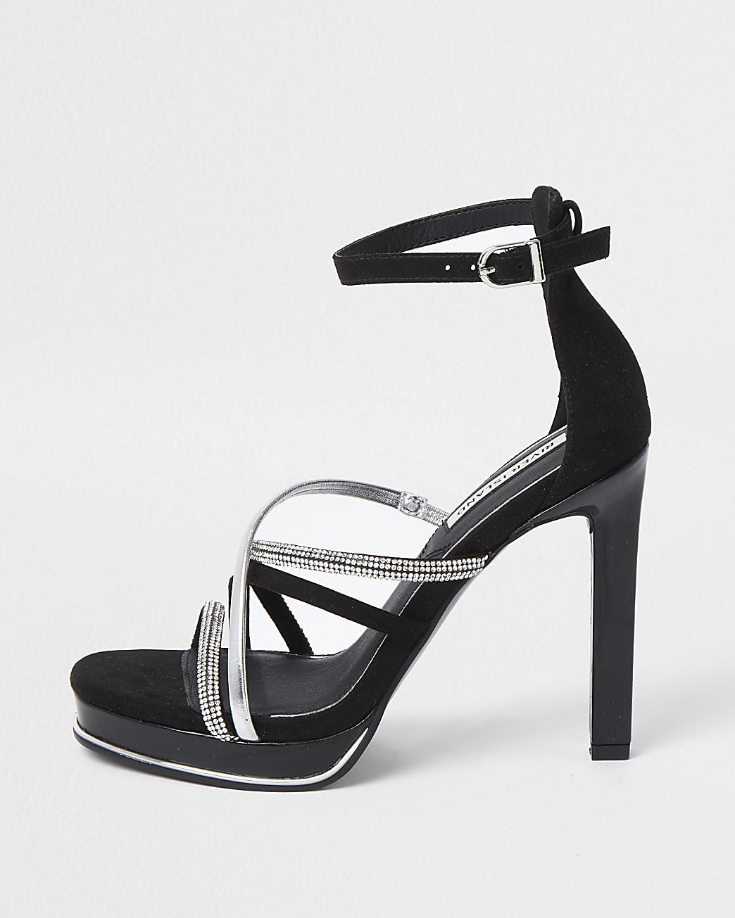 Black embellished strappy platform heels