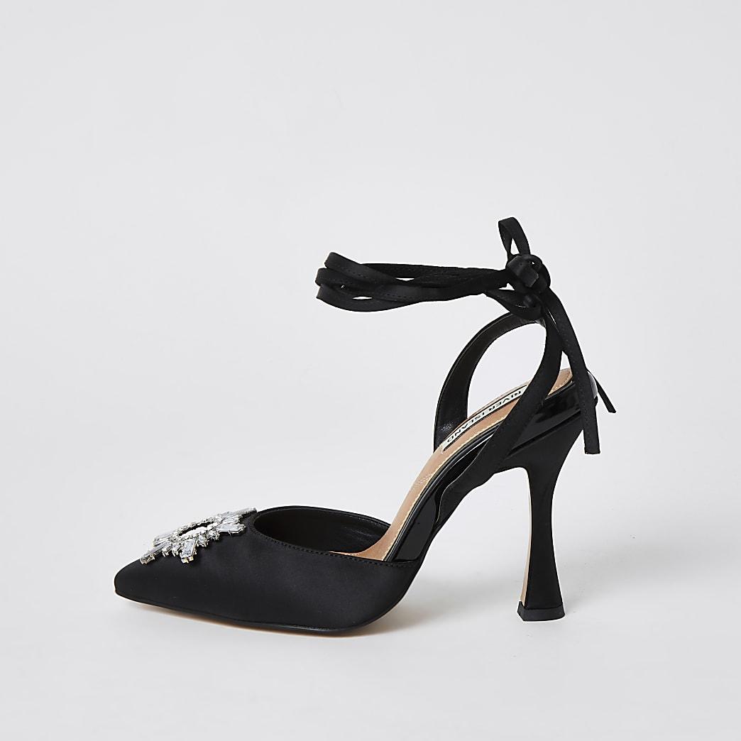 Black embellished tie ankle court shoes
