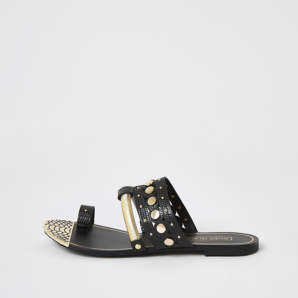 Black embellished toe loop sandals