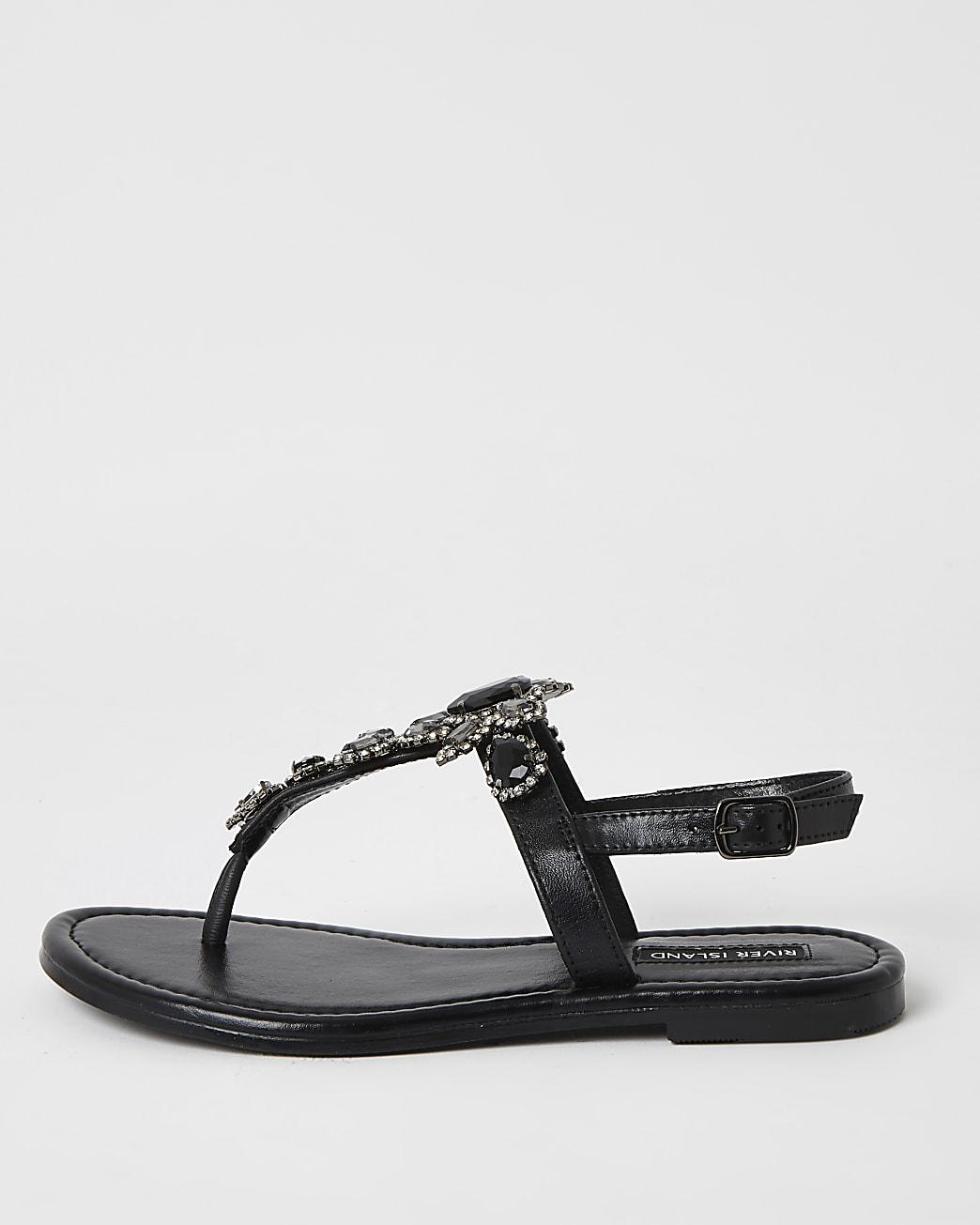 Black embellished toe thong sandal