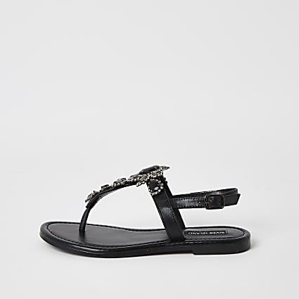Black embellished toe thong sandal