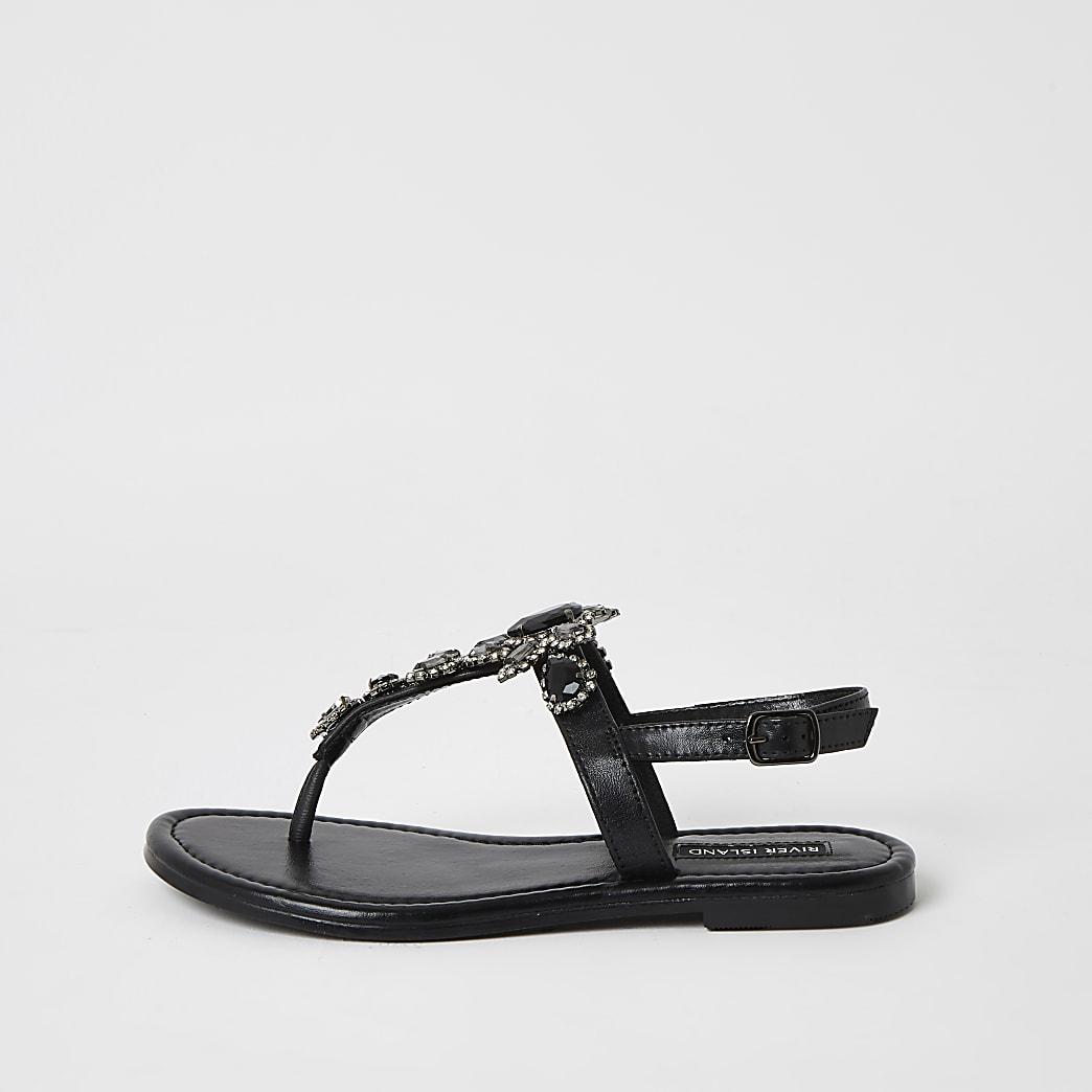 Zwarte verfraaide teenslipper sandalen