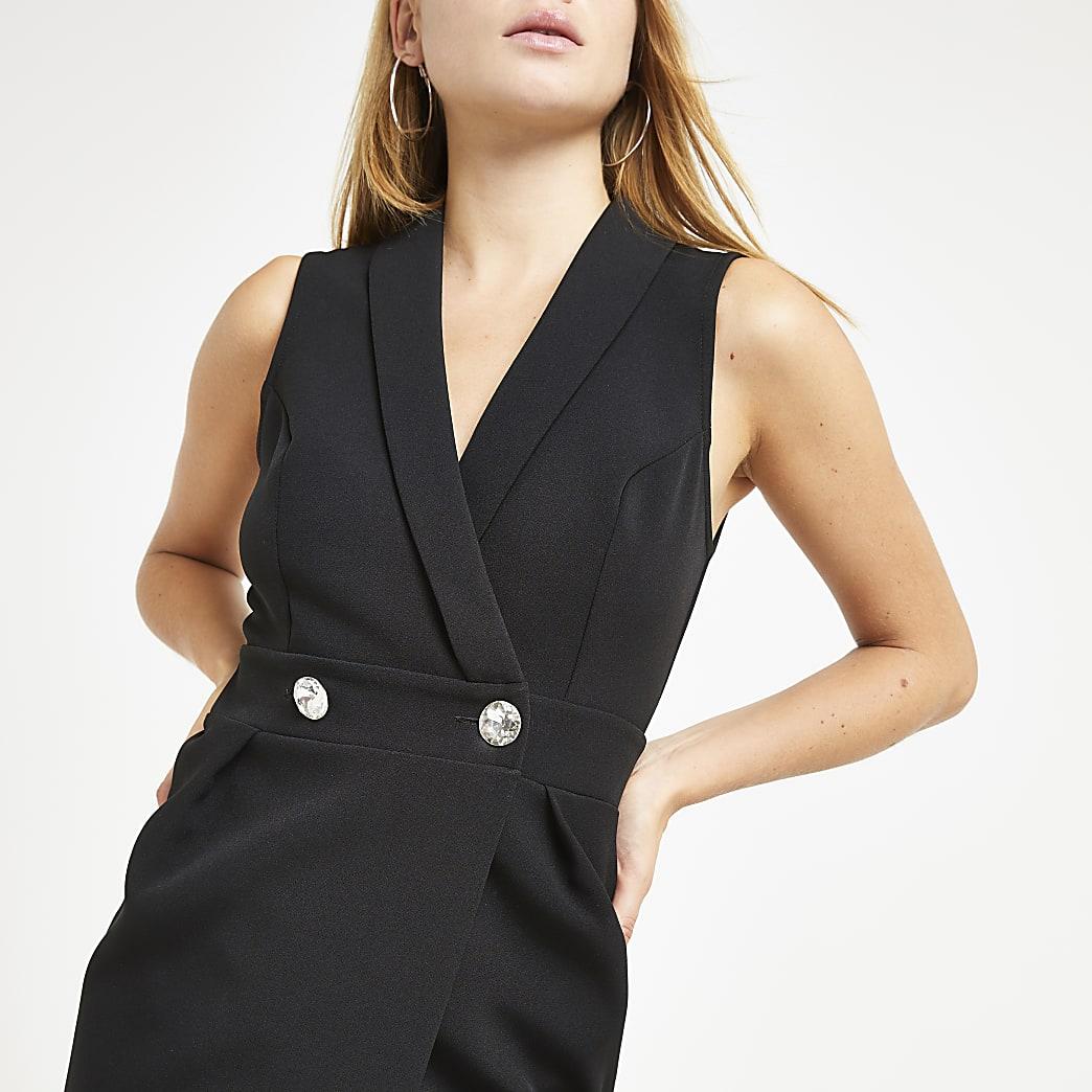Robe mi-longue ajustée noire ornée style smoking