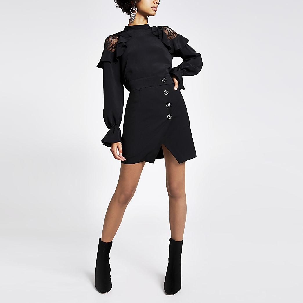 Black embellished tux wrap mini skirt