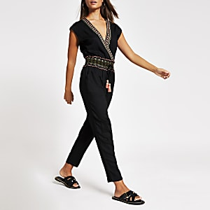 Black embellished V neck beach jumpsuit