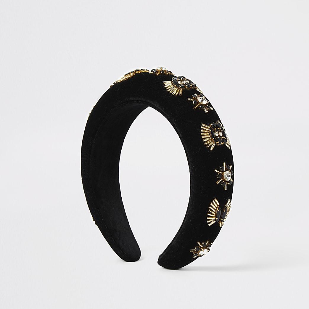 Black embellished velvet padded headband
