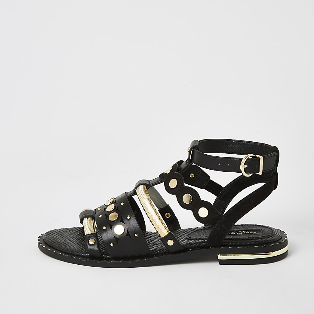 Black embellished wide fit gladiator sandals