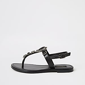 Zwarte verfraaide wide fit teensandalen