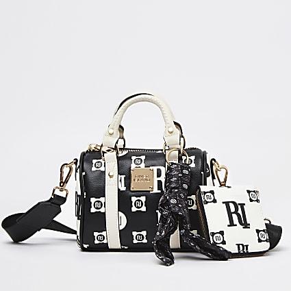 Black embossed and printed bowler bag