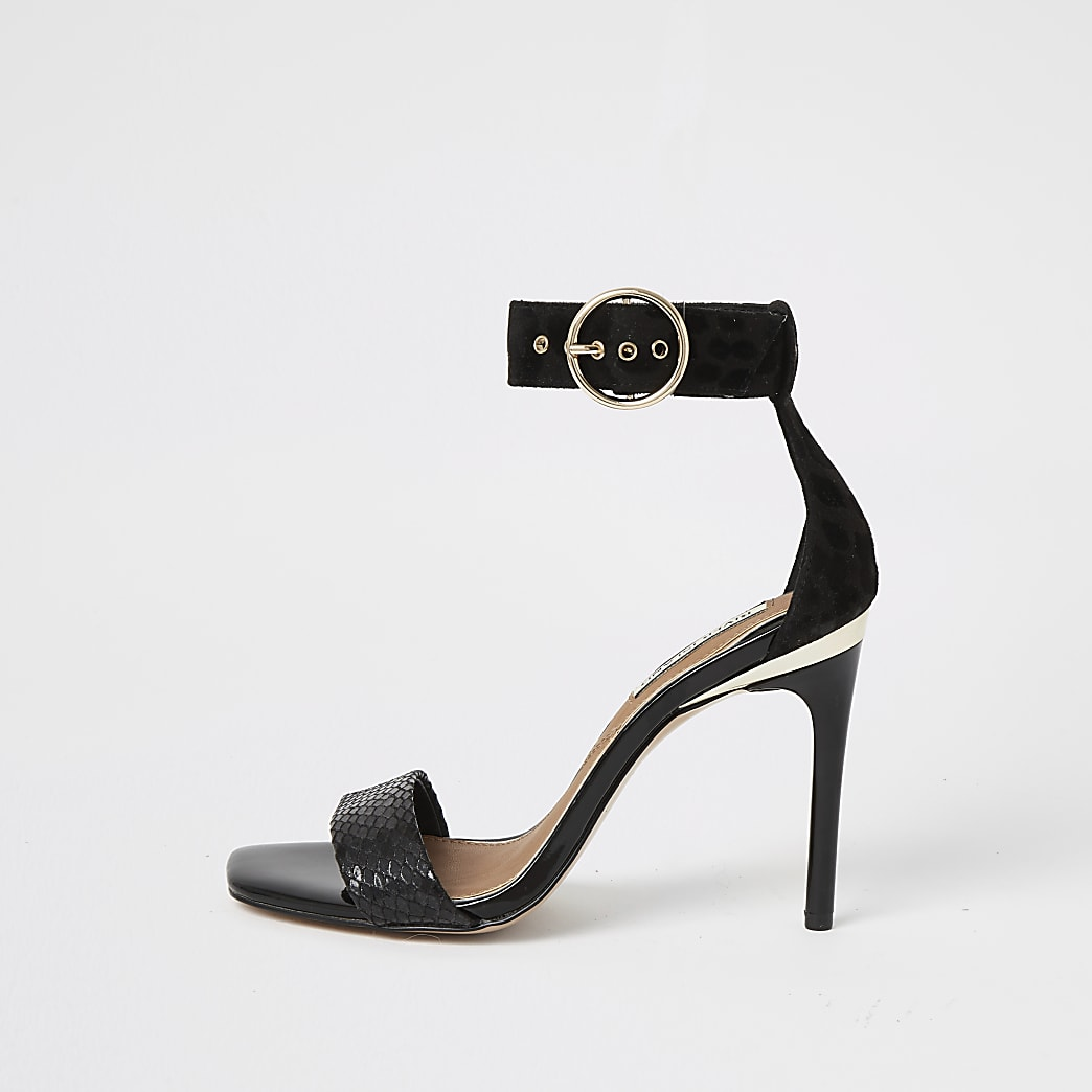 Black embossed barely there heeled sandals