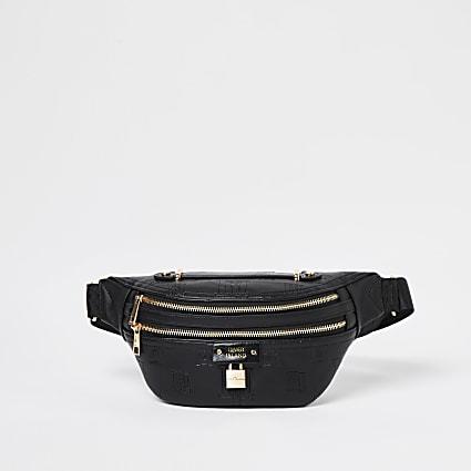 Black embossed belt bag