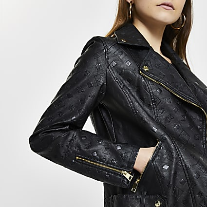 Black embossed biker jacket