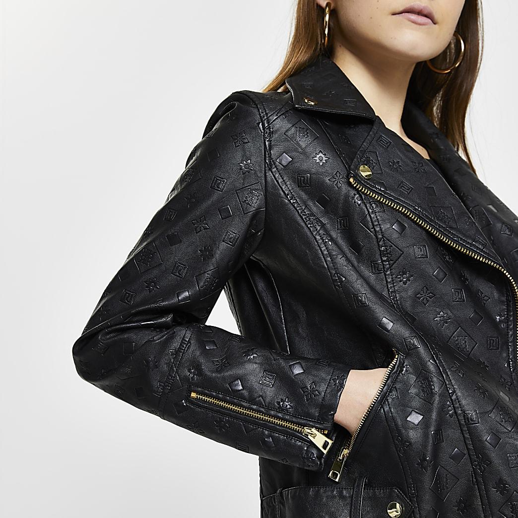 Black embossed biker jacket