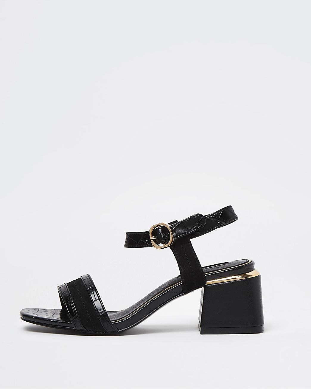Black embossed block heel sandals