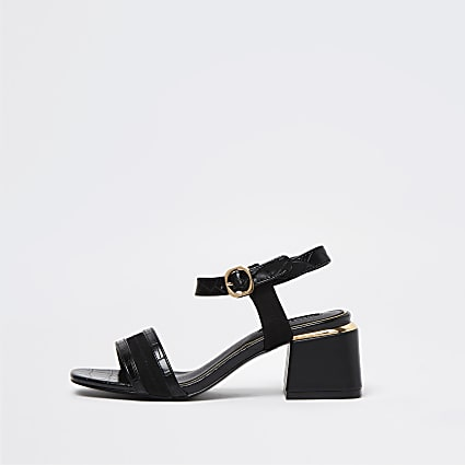 Black embossed block heel sandals