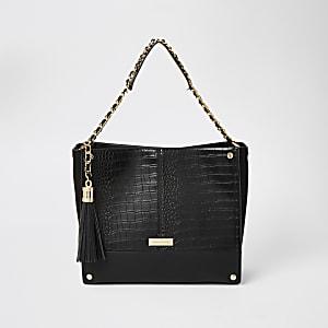 Schwarze Shopper-Tasche mit Prägung und Kettenriemen