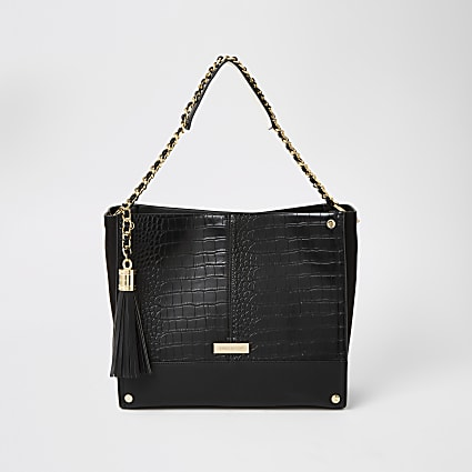 Black embossed chain strap shopper bag