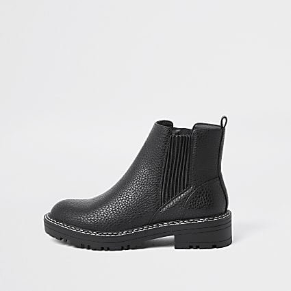 Black embossed chelsea boots