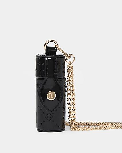 Black embossed cross body lipstick holder
