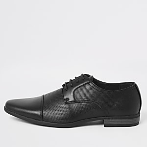 Black embossed lace-up derby shoes