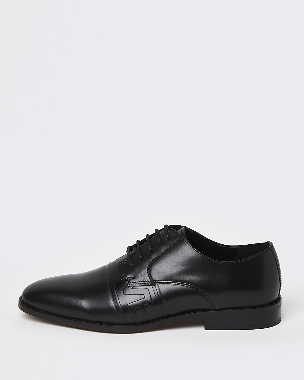 Black embossed lace up derby shoes