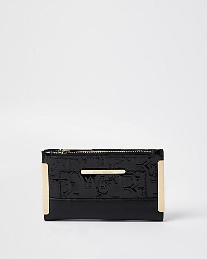 Black embossed mini foldout purse