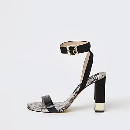 Black embossed print block heeled sandal