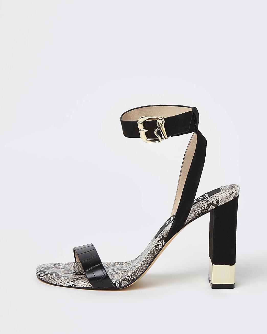 Black embossed print block heeled sandals