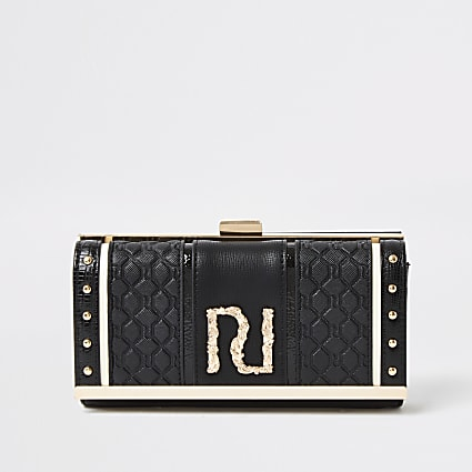 Black embossed RI cliptop purse