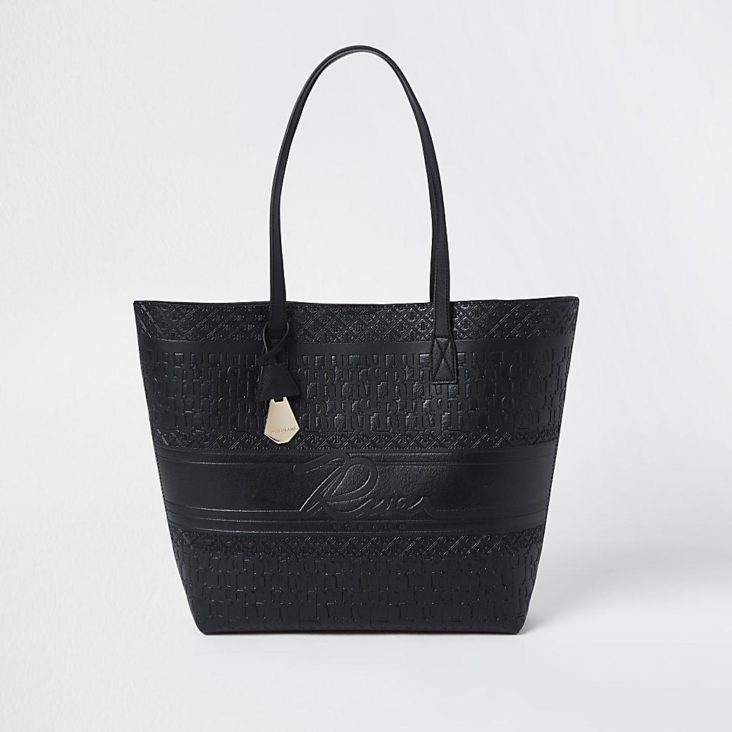 Black embossed 'River' shopper bag