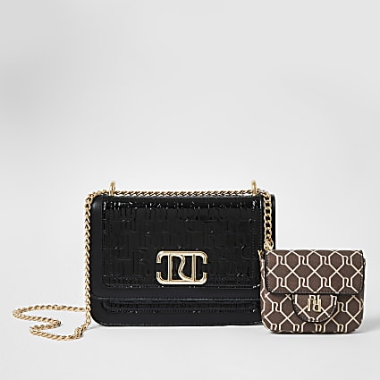 Black embossed satchel with detachable pouch