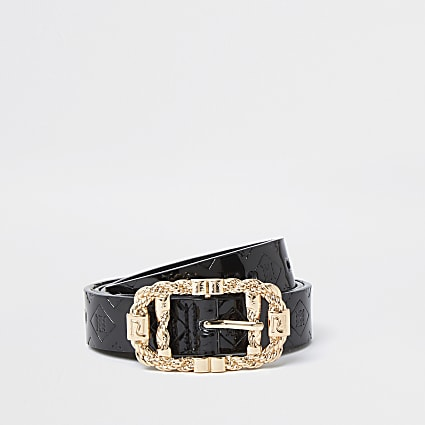 Black Embossed Twist Buckle Belt