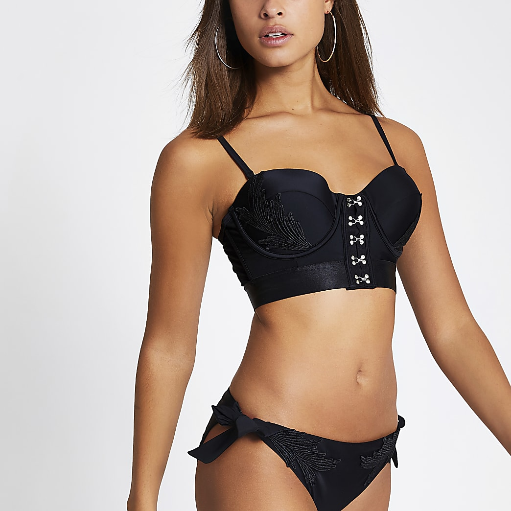 Black embroidered balconette bikini top