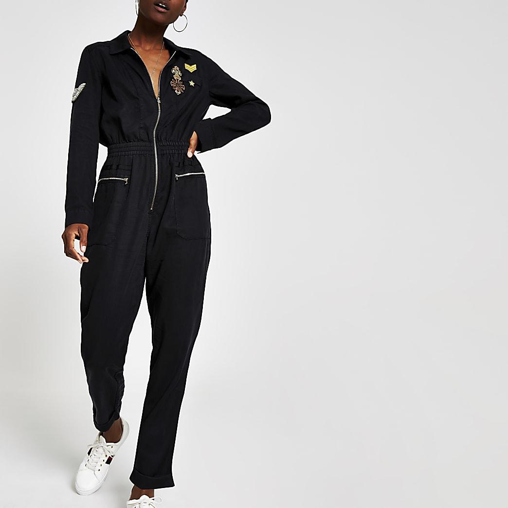 Black embroidered boiler suit