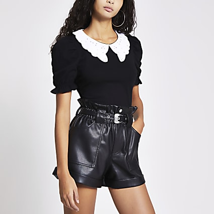 Black embroidered collar puff sleeve top