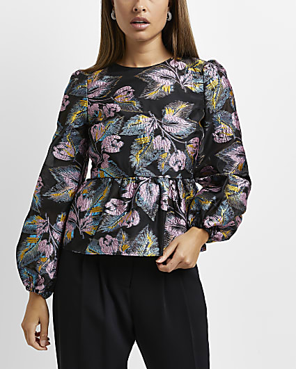 Black embroidered floral peplum top