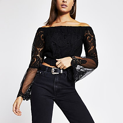 Black embroidered long sleeve bardot crop top