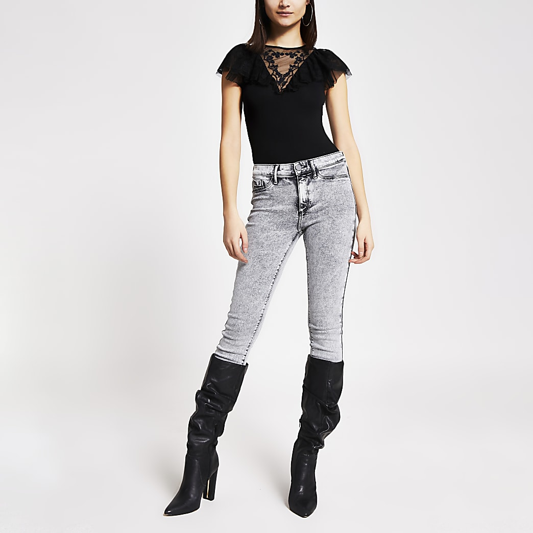 Black embroidered mesh ruffle bodysuit