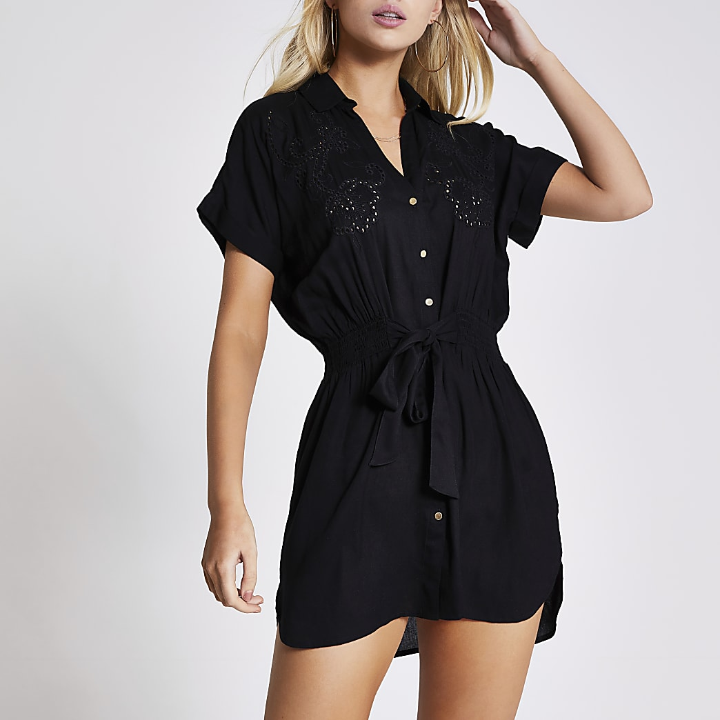 Black embroidered mini shirt beach dress