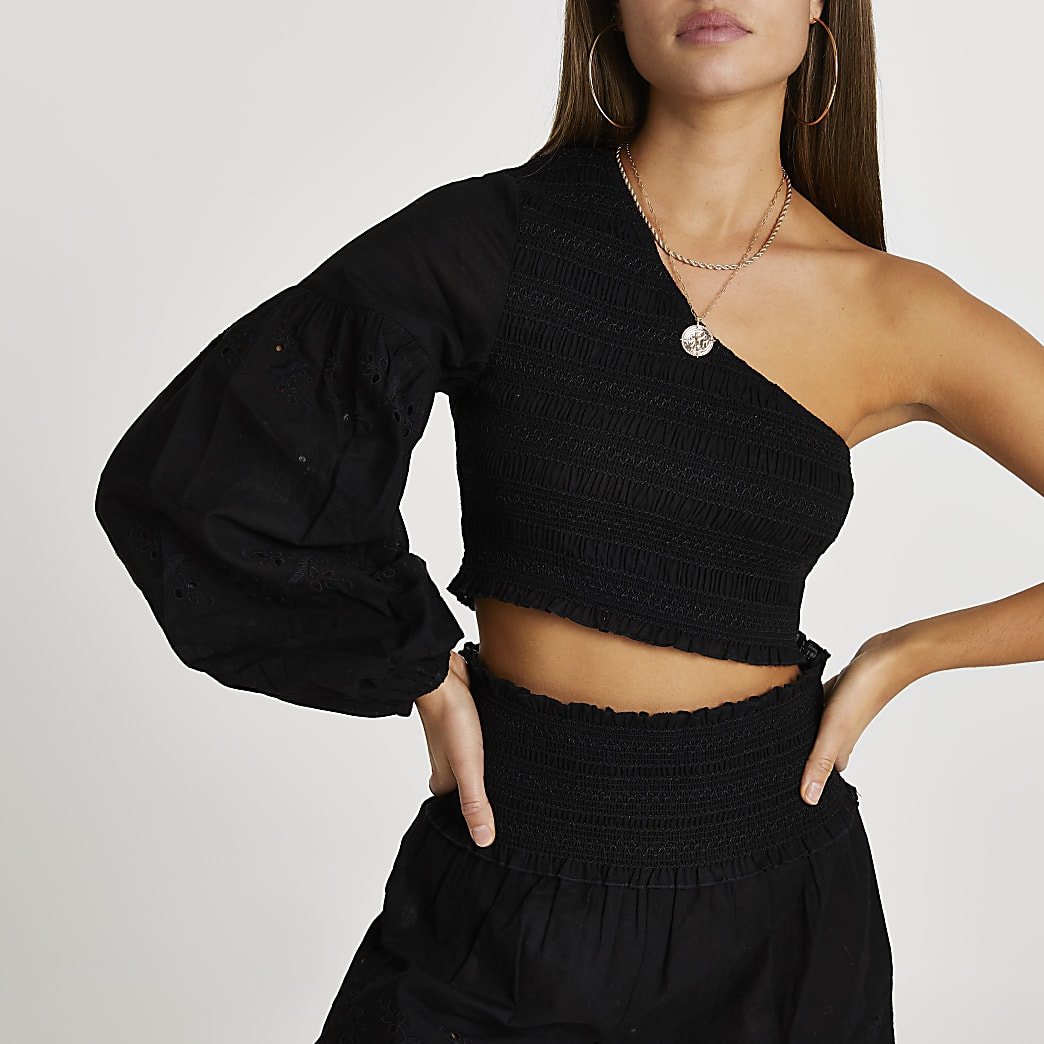 Black embroidered one shoulder beach top