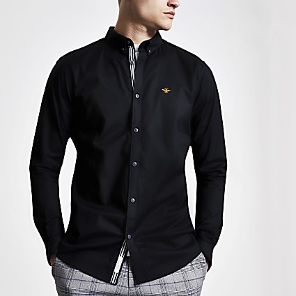 Black embroidered slim fit Oxford shirt